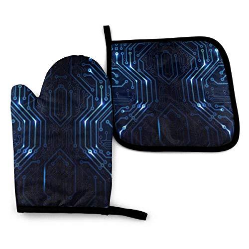 Blauer und Grauer Schaltplan Ofenhandschuhe und Topflappen-Set, waschbare hitzebeständige, rutschfeste Griffofenhandschuhe für die Mikrowelle