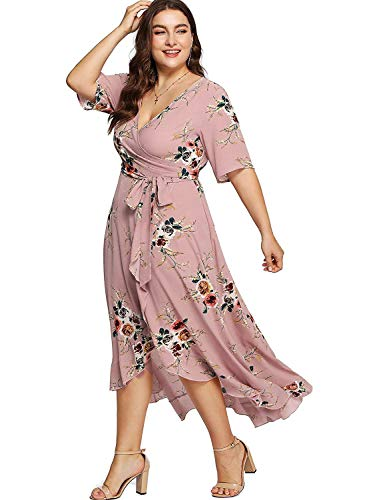 Milumia Plus Size Short Sleeves Wrap V Neck Belted Empire Waist Asymmetrical High Low Bohemian Party Maxi Dress Pink 2XL