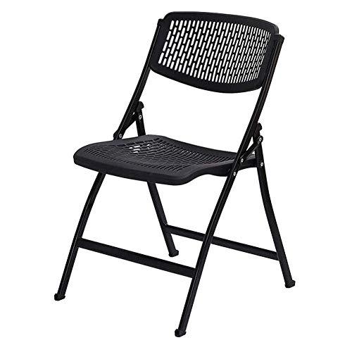 Office klapstoel plastic vergaderstoel ontmoetingsplaats training stoel opvouwbaar krukje grote rugleuning leisure stoel ademend klapstoel 8bayfa (Color : Black)