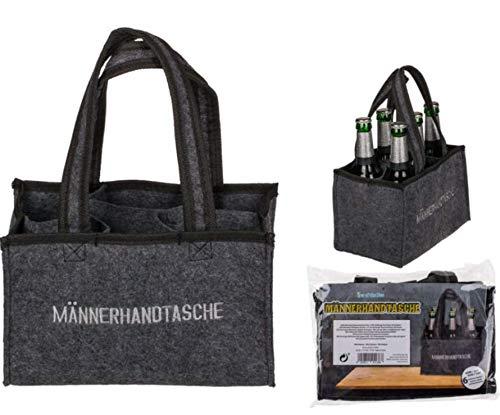 EuroDiscount Filztasche Flaschentasche Sixpack Flaschenträger Männerhandtasche Filz mit Tragegriff 1 Stück