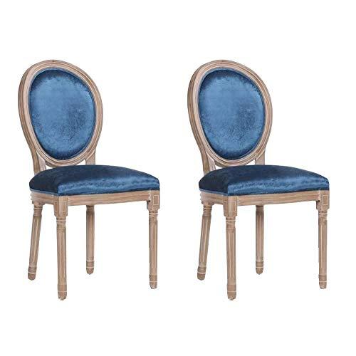 –Juego de 2sillas medallón Versalles Estilo Louis XVI Terciopelo Azul