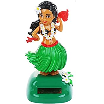 Bticx Solar Hawaiian Dance Figure Energy Saving Car Dashboard Toy Lovely with Solar Panel Shaking Head Doll Dancing Figure Toy for Bedroom Family Desk Office
