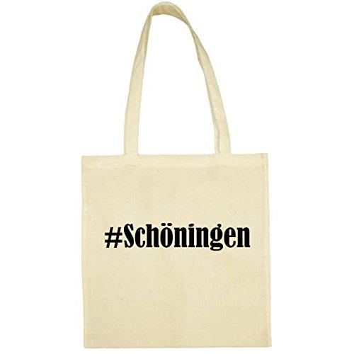 Tasche #Schöningen Größe 38x42 Farbe Natur Druck Schwarz