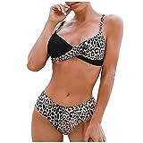 Damas Conjunto de Bikinis con Costura de Estampado de Leopardo Traje de Baño Atractivo con Relleno Ropa de Baño con Correas Ajustables Bañadores Elegante Ideal para Buceo,Natación,Surf