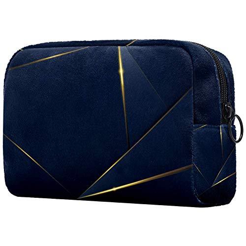 Trousse de maquillage de luxe à motif bleu foncé avec imprimé doré - Trousse de maquillage pour femme