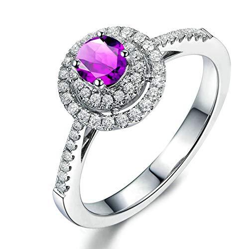 Bishilin Anillo de Plata de Ley 925 para Novia Ajuste Cómodo Púrpura Redondo Cristal Piedra del Zodíaco Anillo de Alianza de Boda de Compromiso de Aniversario con Bolsa de Joyeríaplata Talla: 6,75