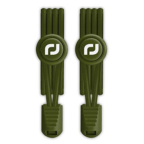 RJ-Sport Elastische Schnürsenkel mit Schnellverschluss - Schnellschnürsystem für Einzigartigen Komfort und Starken Halt - 1 Paar (Nummer 019 - Armeegrün)