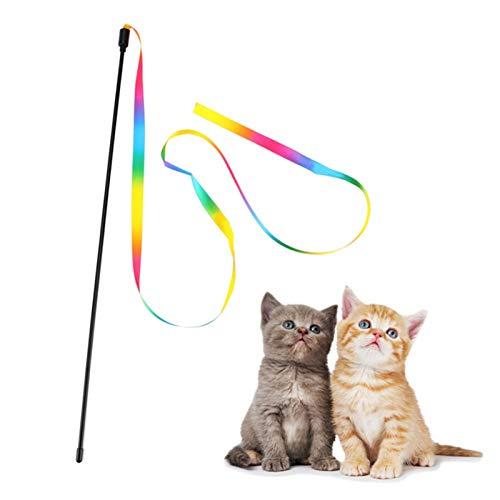 TONGHUA Interaktives Katzenspielzeug Rainbow Cat String Toy, Safe Cat Catcher Teaser Stick Spielzeug für Kätzchen Training Pets Exerciser