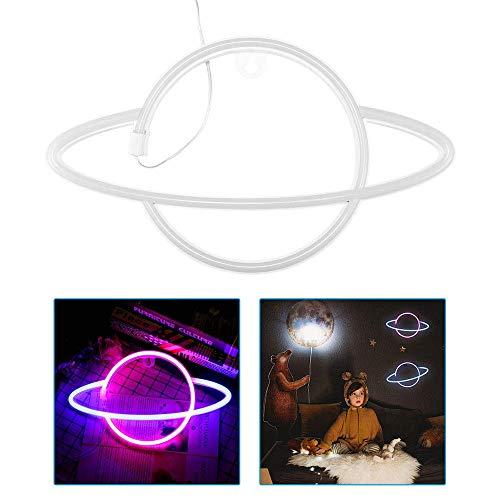 N\C Lámpara de Noche de neón, Luces de neón Colgantes LED, lámpara de Noche de Planeta para el hogar, Dormitorio de niños, Fiesta de cumpleaños, Bar, decoración de Boda