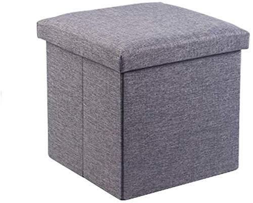 MMWYC Tabouret de Rangement Pliant carré Linen Siège Simple Pouf Chaise Ottoman Boîte de Repos Banc (Color : Dark Gray)