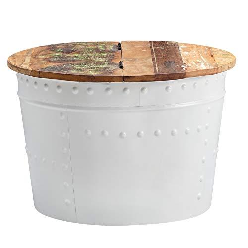 FineBuy Tavolino da caffè Bianco Mango Legno Massello/Metallo 60x40x60 cm Disegno Tavolo | Rotondo Tavolo da Salotto Industria Divano Tavolo | Tavolino Laterale con Spazio di archiviazione