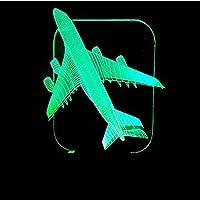常夜灯3D飛行機モデルモデリング常夜灯イリュージョンランプ7色変更装飾ライト子供のおもちゃリモコンでタッチ
