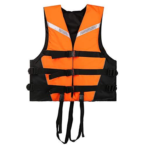 MoYoTo Nadar Chaleco Salvavidas Chaleco Salvavidas De Alta Flotabilidad para Evitar Colisiones con Silbato Y Tira Reflectante para Nadar, Pescar Y Surfear,Naranja,XL