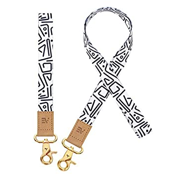 Pack of 2 Wrist and Neck Lanyards for ID Badges Ecovision Wristlet Keychain Holder Car Key Lanyard for Women and Men