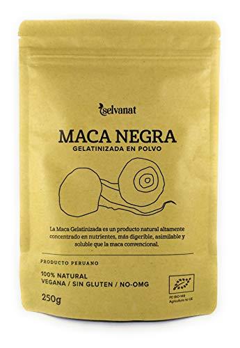 Maca Negra Gelatinizada en polvo, 250 g. Sin gluten No-OMG Orgánica y Vegana. Energía, Fertilidad y Salud Sexual para Mujeres y Hombres. Estimula las defensas. Producto peruano