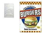 Feenomenn - Placa metálica decorativa vintage con efecto relieve, 25 cc, diseño de hamburguesas, 100 % buey (30 x 40 cm)