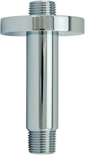 Aquaiaw Shower Arm and O-Ring Flange, 3 inch, Solid Brass, Round, Polished Chrome, Straight Shower Arm Extension, Ceiling Shower Head Extension Arm, Both 1/2 NPT, Rainfall Shower Head Arm