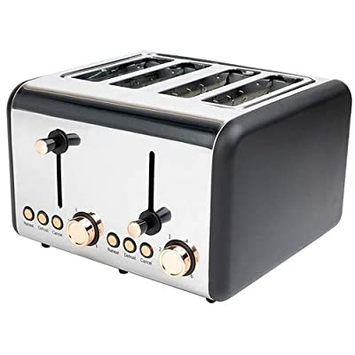 Salter EK3352RG 4-Slice Toaster, 1500 W, Rose Gold | Variable Browning, Wider Slots, Defrost/Reheat Functions