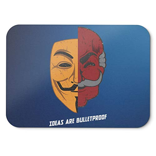 BLAK TEE Ideas Are Bulletproof Fsociety Meets V VendettaMouse Pad 18 x 22 cm in 3 Colours Blue