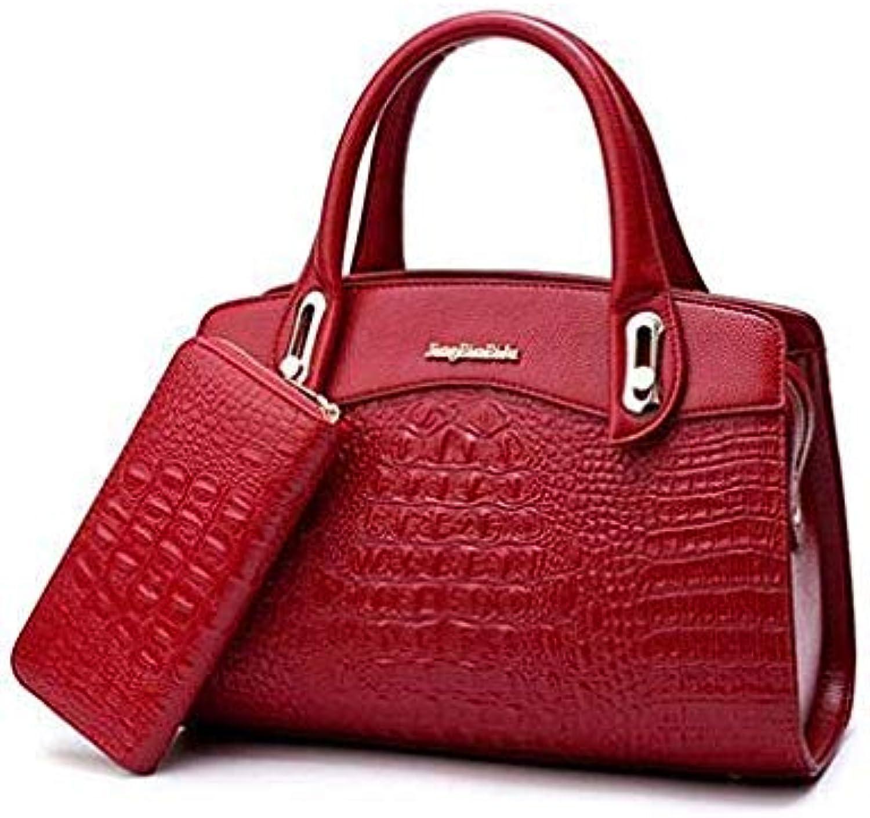 New Women Bag Crocodile Pattern Embossed Leather Two Set Purse and Handbags Famous Brands Designer Handbag Female Shoulder Bags Red Wine 33cm 15cm 22cm