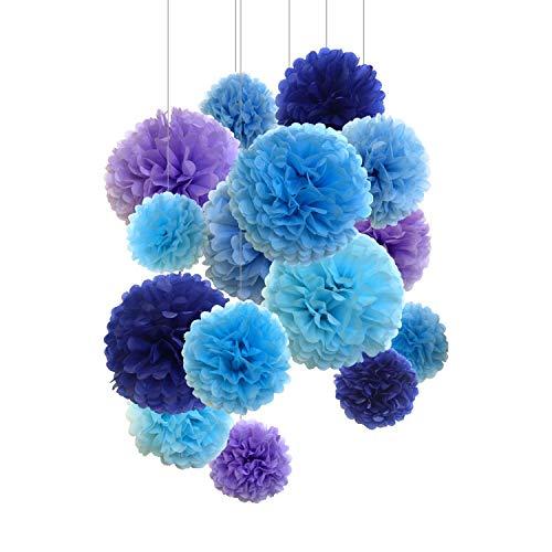 SD SPARKLING DREAM Fiore di Carta velina Pompon Decorativo per Feste e celebrazioni 15 Pezzi da 20 cm, 25 cm e 35 cm Blu