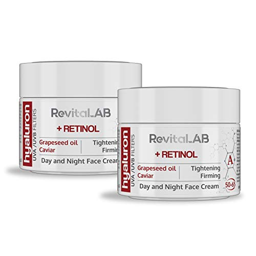 RevitaLAB Hyaluron Anti-Aging Tages- und Nachtcreme mit Retinol, Kaviar und roten Trauben, für Alter zwischen 50 und 65, 2x 50 ml (Multipack)