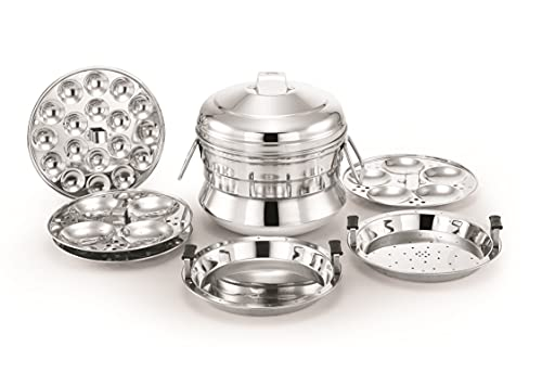 Alisha Stainless Steel Steamers and Idli Maker (Silver)
