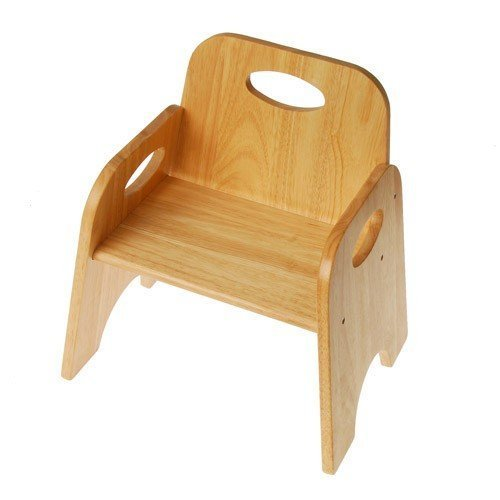 Constructive Playthings Classic Toddler Chair, Wooden Stackable Seat for Children, 8 Inches High