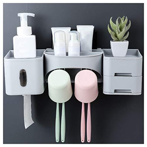 LHHL Tandenborstelhouder, automatische tandpastadispenser voor de badkamer, voor alle soorten tandenborstels