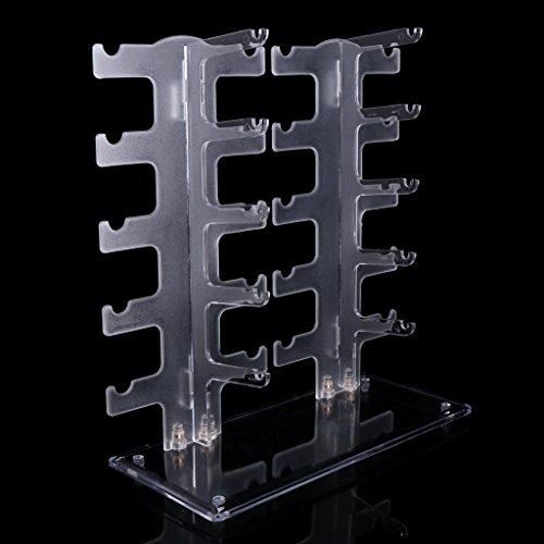ZJL220 - Soporte de gafas de sol de dos filas, 10 pares, soporte de gafas expositor, transparente