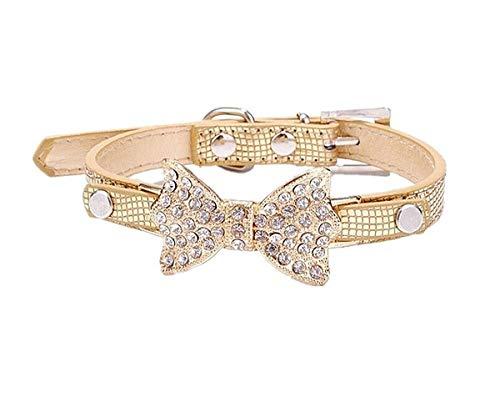 Rainbowstars mooie kristal diamant boog krokodil huisdier kraag hond ketting voor kleine/middelgrote katten of honden maat S (goud)