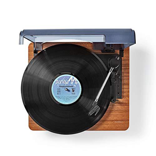 TronicXL - Tocadiscos con Bluetooth, Aux, Retro, Conector Jack de 3,5 mm, diseño Vintage de Madera, Color marrón, LP