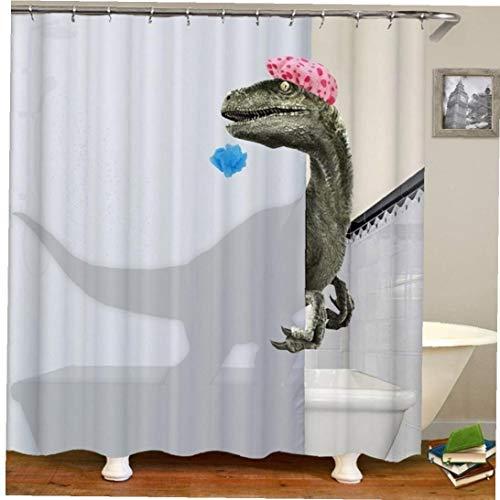 Lankater Bañar Dinosaurio De Impresión Cortina De Ducha Impermeable Baño Cortina De Ducha Baño Artículos De Decoración del Baño Curtain180x180cm