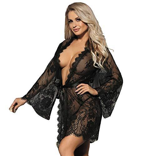 Bata De Satén Para Mujer,Día De San Valentín Lencería Sexy Tallas Grandes De Encaje Transparente Babydoll Bata Vestido Corto Albornoz Kimono Chemises Ropa De Dormir Ropa De Hogar Para Regalos De