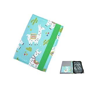 aufklappbare eBook Reader eReader Hülle Lama türkisblau, Maßanfertigung, z.B. für Tolino Vision 5 Kindle Paperwhite