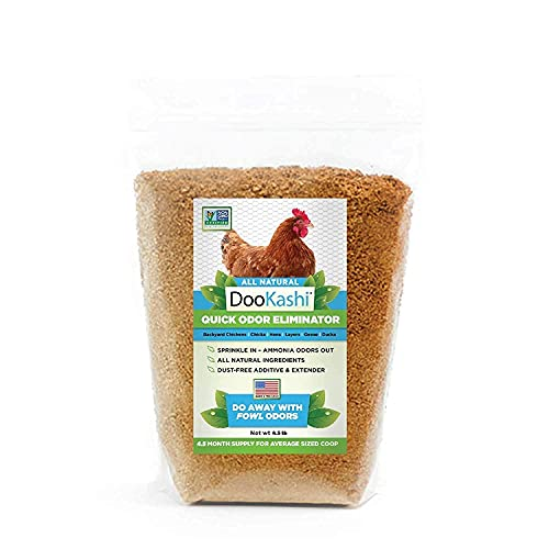 DooKashi for Poultry Chicken Coop Natural Odor Eliminator & Compost Accelerator - Probiotic Powered Bird Poop Remover, Ammonia Cleaner and Pet Odor Neutralizer for All Types of Chicken Bedding, 4.5lb