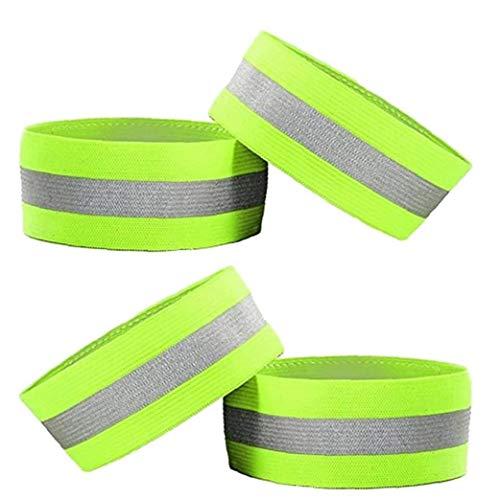 4 brazaletes de alta visibilidad, bandas reflectoras, bandas de seguridad para correr, caminar, ciclismo, trotar, noche, seguridad al aire libre, 1 unidad