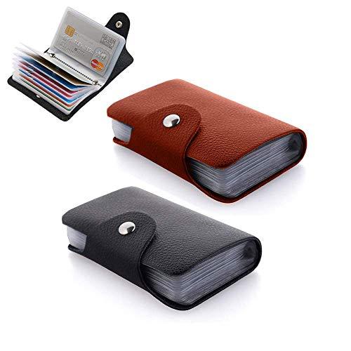 2 Pcs Klein Kreditkartenhülle Schwarze PU Leder Ausweis Kreditkartenetui für 24 Karten