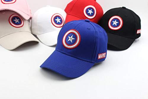WULIAN Doitbest 2-8 Jahre alt Captain America Kinder Hip Hop Solid Baseball Cap Sommer Kinder Sonnenhut Jungen Mädchen Snapback Caps, Blau