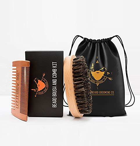 MISSION BEARD GROOMING CO. Set bestehend aus Bartbürste aus 100% Wildschweinborsten und Bartkamm | Entfernt abgestorbene Hautzellen, zähmt die wildesten Bärte & fördert das Bartwachstum