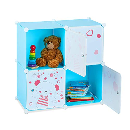 Relaxdays Spielregal für Kinder, Teddybär Motiv, 4 Fächer, Erweiterbar, DIY Steckregal, HBT: 75 x 75 x 36,5 cm cm, blau