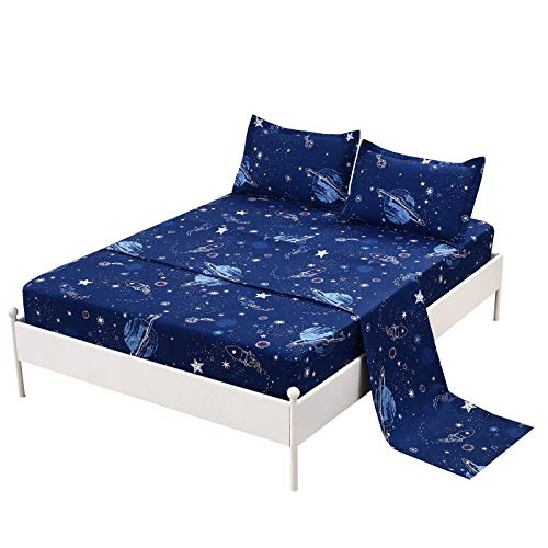 """MAG Space Bed Sheet 3PC Navy Twin Size Out Space Bedding Sheet Set with 1 Flat & 1 Fitted Sheet with 1 Pillow Cases , 12"""" Deep"""
