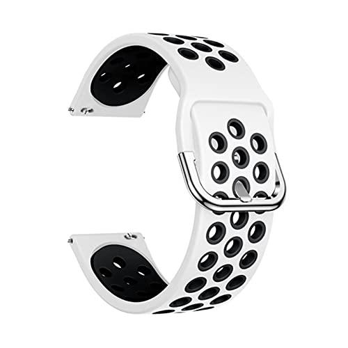 Silicone Original Sport Watch Band para Samsung Galaxy 42mm / Activo/Activo 2 Smart Watch Correa Strap Pulsera De Reemplazo 20mm Correa (Color : White Black, Size : 20mm)