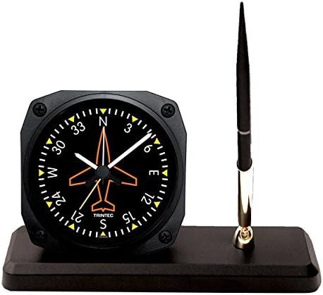 Trintec Ranking TOP7 Max 76% OFF Aviation Directional Gyro Desk Set Pen Alarm with Clock
