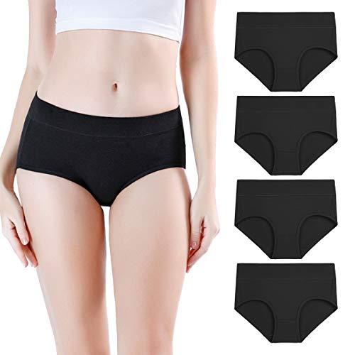 wirarpa Damen Unterwäsche Slips Unterhosen Baumwolle 4er Pack Frauen Hipster Panty Schwarz Schwarz Medium (38/40)