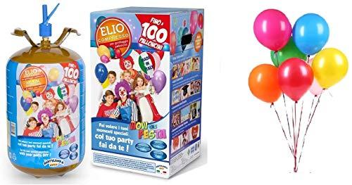 Euroossigeno- Bombola Gas Elio per gonfiare 100 Palloncini Festa Compleanno Matrimonio Laurea, Colore, HE100
