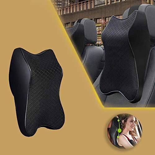 N/G Car Seat Headrest Neck Rest Cushion Durable Pure Memory Foam Neck Pillow Comfortable ErgonomicBreathable Removable Seat Headrest Pad (Black,L)