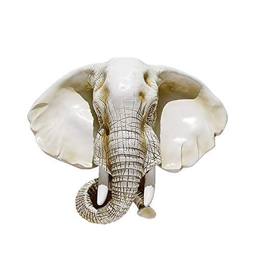 CUIRUI Colgando Europea Elefante Dirigen Pared Sala De Estar Decoración De La Pared De Fondo Decoración De La Pared Decoración De Animal Cabeza Elefante Colgante Nariz Blanca Antigua