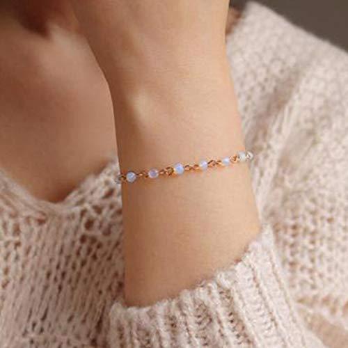 TseenYi Boho - Pulsera de cuentas de cristal pequeñas, cadena de mano dorada elegante, pulsera de novia, joyería para mujeres y niñas