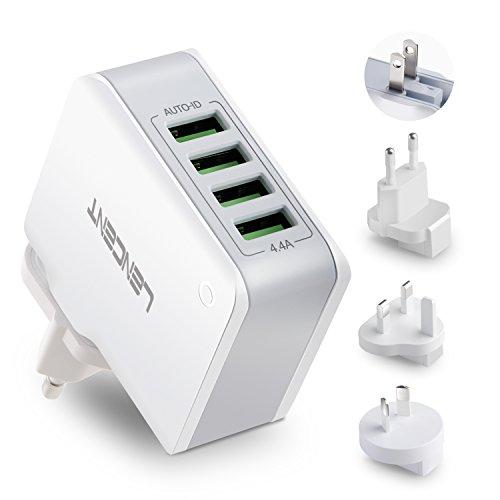 LENCENT Chargeur USB Multiple, 4 Ports Prise USB Secteur Internationale, 5V/4.4A Adaptateur Prise Anglaise/Europe/Americaine/Australie avec Technologie Smart IC pour iPhone, iPad, Smartphones et Plus